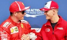 Kimi Raikkonen (FIN) Ferrari receives the Pirelli Pole Position award from Mick Schumacher (GER) Formula Three Driver.