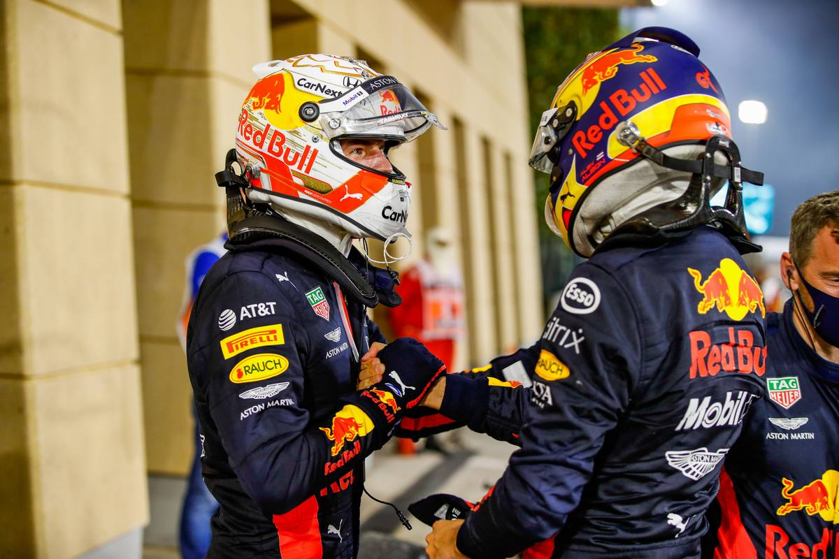 Max Verstappen (NLD) Red Bull Racing celebrates his second position with third placed team mate Alexander Albon (THA) Red Bull Racing. 29.11.2020. Formula 1 World Championship, Rd 15, Bahrain Grand Prix