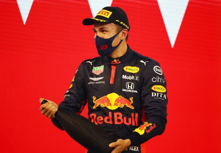 Alexander Albon (THA) Red Bull Racing celebrates his third position on the podium. 29.11.2020. Formula 1 World Championship, Rd 15, Bahrain Grand Prix