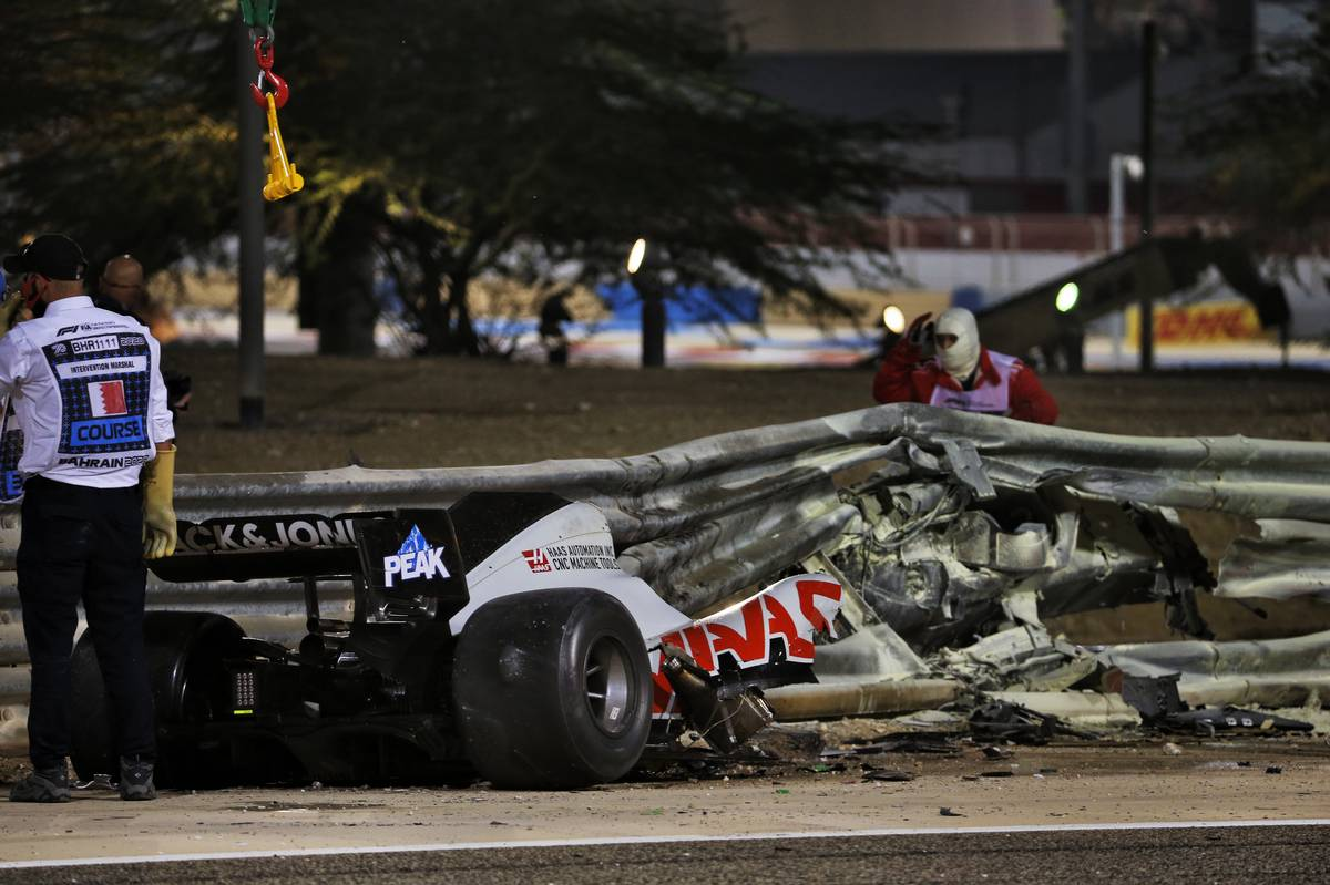 The heavily damaged Haas F1 Team VF-20 of Romain Grosjean (FRA) Haas F1 Team after crashed at the start of the race and exploded into flames, destroying the armco barrier. 29.11.2020. Formula 1 World Championship, Rd 15, Bahrain Grand Prix