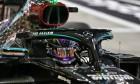 Lewis Hamilton (GBR) Mercedes AMG F1 W11 celebrates his pole position in qualifying parc ferme. 28.11.2020. Formula 1 World Championship, Rd 15, Bahrain Grand Prix