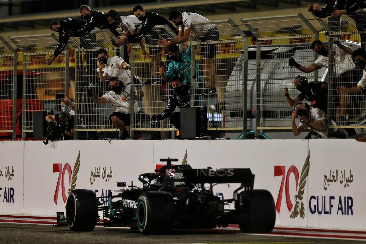 Race winner Lewis Hamilton (GBR) Mercedes AMG F1 W11 at the end of the race. 29.11.2020. Formula 1 World Championship, Rd 15, Bahrain Grand Prix