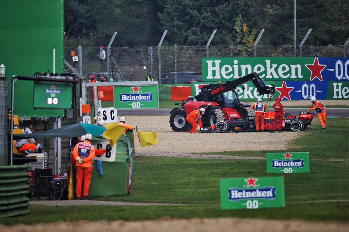 Max Verstappen (NLD) Red Bull Racing RB16 crashed out of the race.