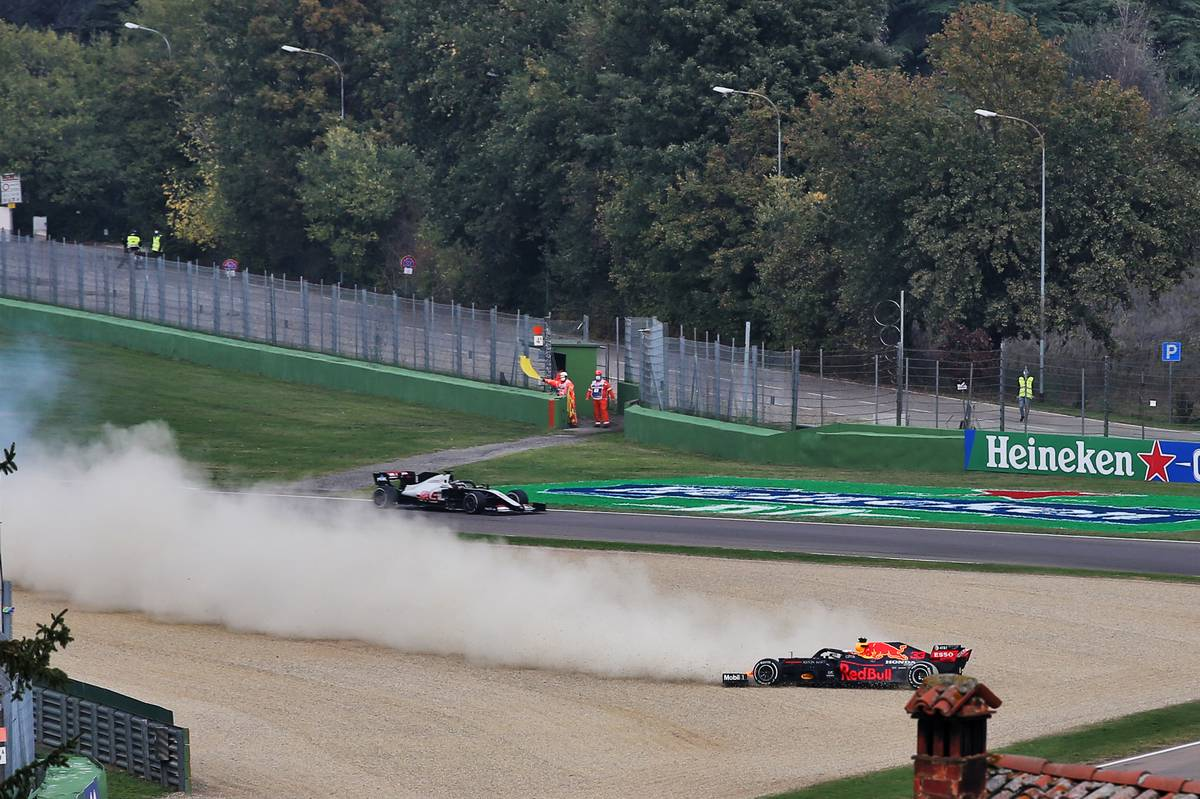 Max Verstappen (NLD) Red Bull Racing RB16 crashes out of the race.