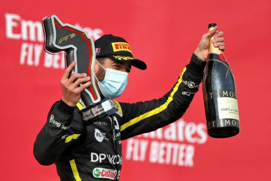 Daniel Ricciardo (AUS) Renault F1 Team celebrates his third position on the podium. 01.11.2020. Formula 1 World Championship, Rd 13, Emilia Romagna Grand Prix, Imola, Italy, Race Day. - www.xpbimages.com, EMail: requests@xpbimages.com © Copyright: Moy / XPB Images