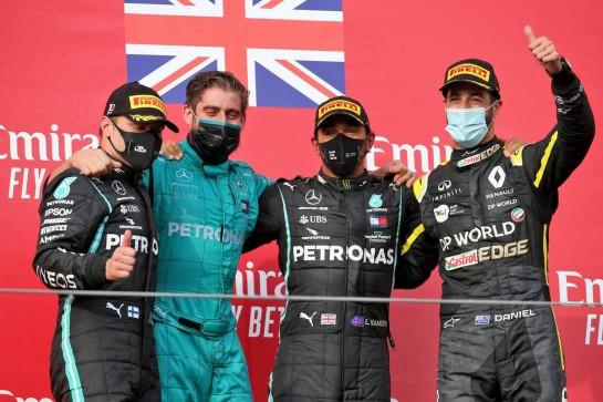 The podium (L to R): Valtteri Bottas (FIN) Mercedes AMG F1, second; Leo Stevens (GBR) Mercedes AMG F1, Lewis Hamilton (GBR) Mercedes AMG F1, race winner; Daniel Ricciardo (AUS) Renault F1 Team, third. 01.11.2020. Formula 1 World Championship, Rd 13, Emilia Romagna Grand Prix, Imola, Italy, Race Day. - www.xpbimages.com, EMail: requests@xpbimages.com © Copyright: Batchelor / XPB Images