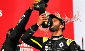 Ricciardo celebrates after 'bizarre' second podium of 2020