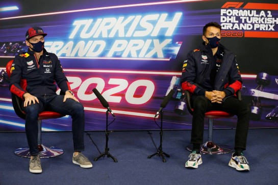 (L to R): Max Verstappen (NLD) Red Bull Racing and Alexander Albon (THA) Red Bull Racing in the FIA Press Conference.