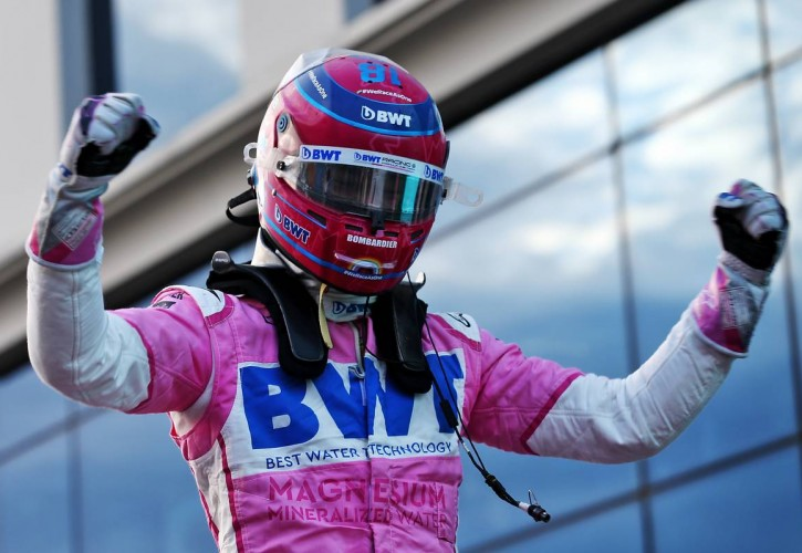 Lance Stroll (CDN) Racing Point F1 Team celebrates his pole position in qualifying parc ferme.