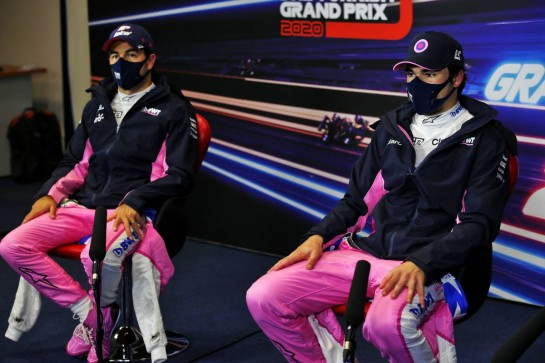 (L to R): Sergio Perez (MEX) Racing Point F1 Team and team mate Lance Stroll (CDN) Racing Point F1 Team in the post qualifying FIA Press Conference.