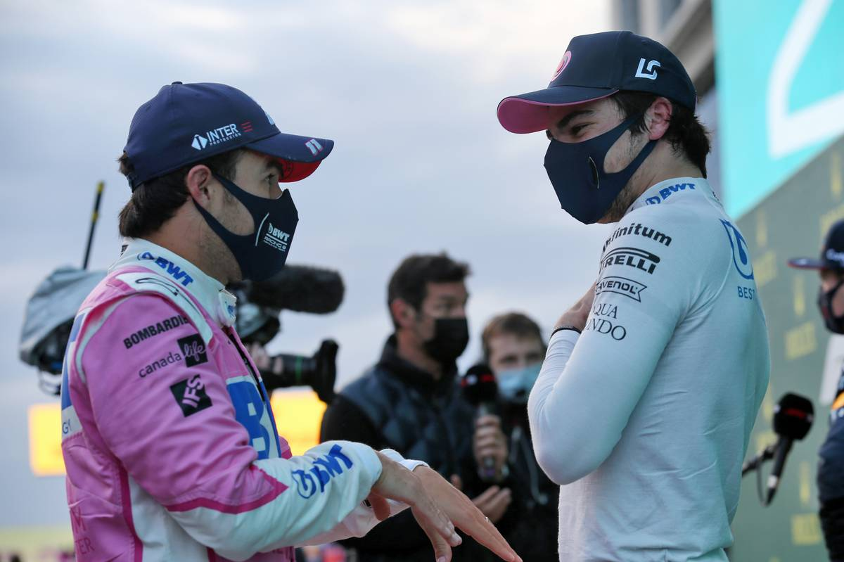 Sergio Perez (MEX) Racing Point F1 Team in qualifying parc ferme with team mate Lance Stroll (CDN) Racing Point F1 Team.