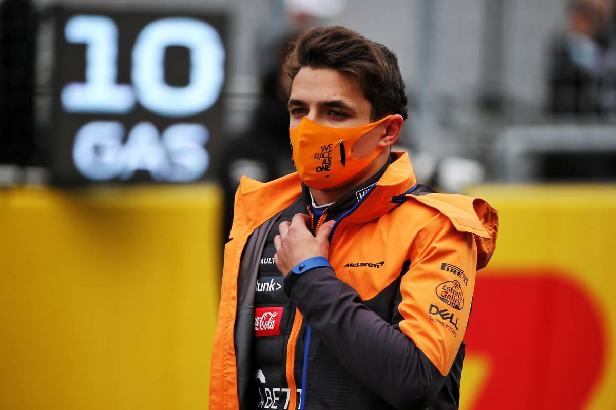 Lando Norris (GBR) McLaren on the grid.