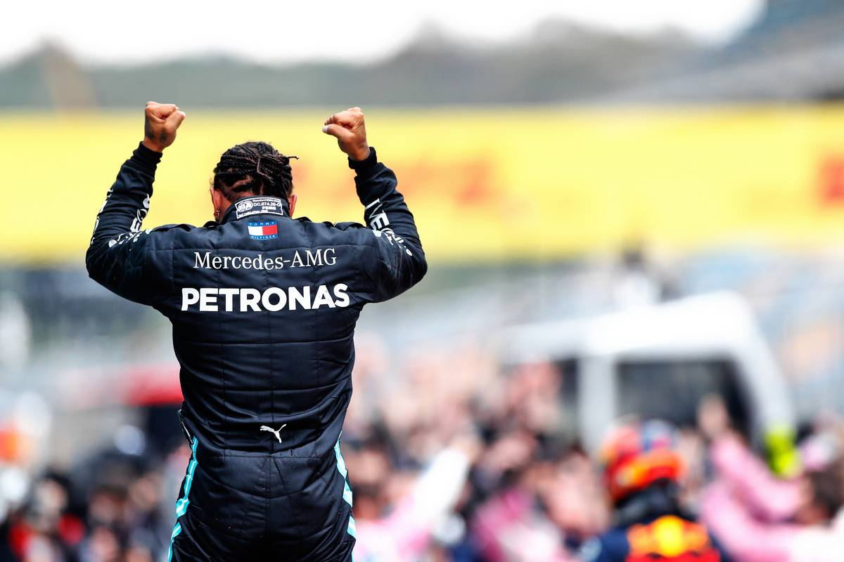 Race winner Lewis Hamilton (GBR) Mercedes AMG F1 celebrates winning his seventh World Championship in parc ferme.
