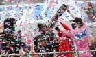 Race winner Lewis Hamilton (GBR) Mercedes AMG F1 celebrates winning his seventh World Championship and Sergio Perez (MEX) Racing Point F1 Team RP19.