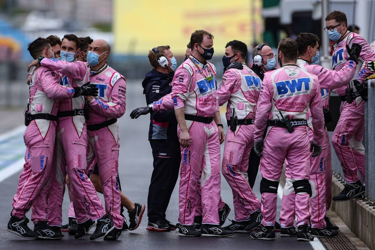 Racing Point F1 Team celebrate second position for Sergio Perez (MEX) Racing Point F1 Team.