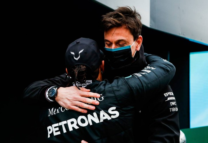 Race winner and World Champion Lewis Hamilton (GBR) Mercedes AMG F1 celebrates in parc ferme with Toto Wolff (GER) Mercedes AMG F1 Shareholder and Executive Director.