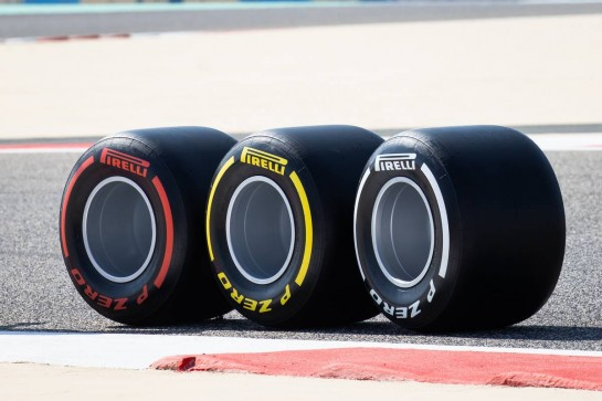 Circuit atmosphere - Pirelli show tyres.