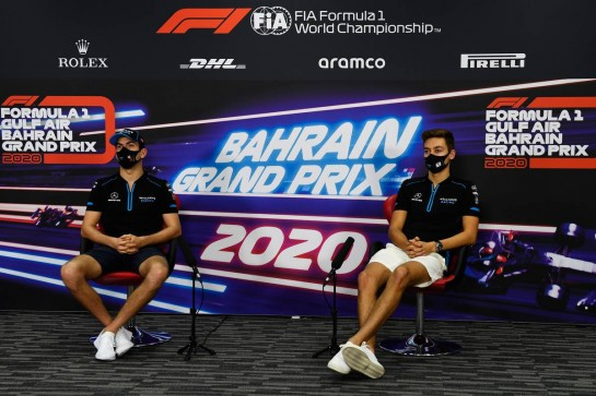 (L to R): Nicholas Latifi (CDN) Williams Racing and team mate George Russell (GBR) Williams Racing in the FIA Press Conference.