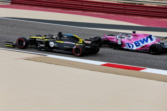 Daniel Ricciardo (AUS) Renault F1 Team RS20 and Sergio Perez (MEX) Racing Point F1 Team RP19. 27.11.2020. Formula 1 World Championship, Rd 15, Bahrain Grand Prix, Sakhir, Bahrain, Practice Day - www.xpbimages.com, EMail: requests@xpbimages.com © Copyright: Moy / XPB Images
