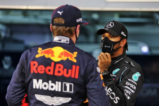 Lewis Hamilton (GBR) Mercedes AMG F1 in qualifying parc ferme with Max Verstappen (NLD) Red Bull Racing. 28.11.2020. Formula 1 World Championship, Rd 15, Bahrain Grand Prix, Sakhir, Bahrain, Qualifying Day. - www.xpbimages.com, EMail: requests@xpbimages.com © Copyright: Moy / XPB Images