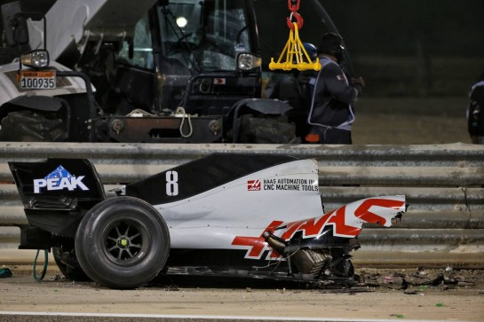 The heavily damaged Haas F1 Team VF-20 of Romain Grosjean (FRA) Haas F1 Team after crashed at the start of the race and exploded into flames, destroying the armco barrier. 29.11.2020. Formula 1 World Championship, Rd 15, Bahrain Grand Prix, Sakhir, Bahrain, Race Day. - www.xpbimages.com, EMail: requests@xpbimages.com © Copyright: Batchelor / XPB Images