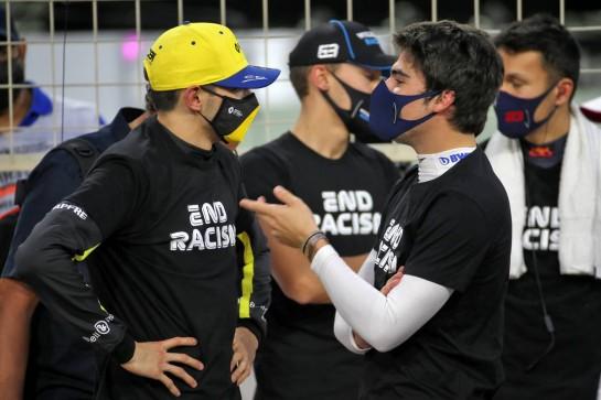 Esteban Ocon (FRA) Renault F1 Team and Lance Stroll (CDN) Racing Point F1 Team on the grid. 29.11.2020. Formula 1 World Championship, Rd 15, Bahrain Grand Prix, Sakhir, Bahrain, Race Day. - www.xpbimages.com, EMail: requests@xpbimages.com © Copyright: Batchelor / XPB Images