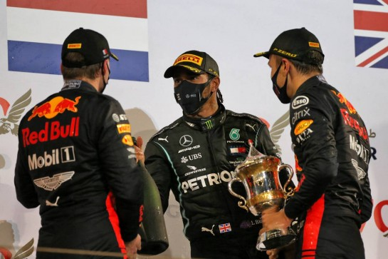 The podium (L to R): Max Verstappen (NLD) Red Bull Racing, second; Lewis Hamilton (GBR) Mercedes AMG F1, race winner; Alexander Albon (THA) Red Bull Racing, third. 29.11.2020. Formula 1 World Championship, Rd 15, Bahrain Grand Prix, Sakhir, Bahrain, Race Day. - www.xpbimages.com, EMail: requests@xpbimages.com © Copyright: Moy / XPB Images