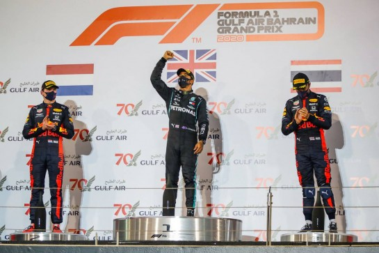 The podium (L to R): Max Verstappen (NLD) Red Bull Racing, second; Lewis Hamilton (GBR) Mercedes AMG F1, race winner; Alexander Albon (THA) Red Bull Racing, third. 29.11.2020. Formula 1 World Championship, Rd 15, Bahrain Grand Prix, Sakhir, Bahrain, Race Day. - www.xpbimages.com, EMail: requests@xpbimages.com © Copyright: FIA Pool Image for Editorial Use Only