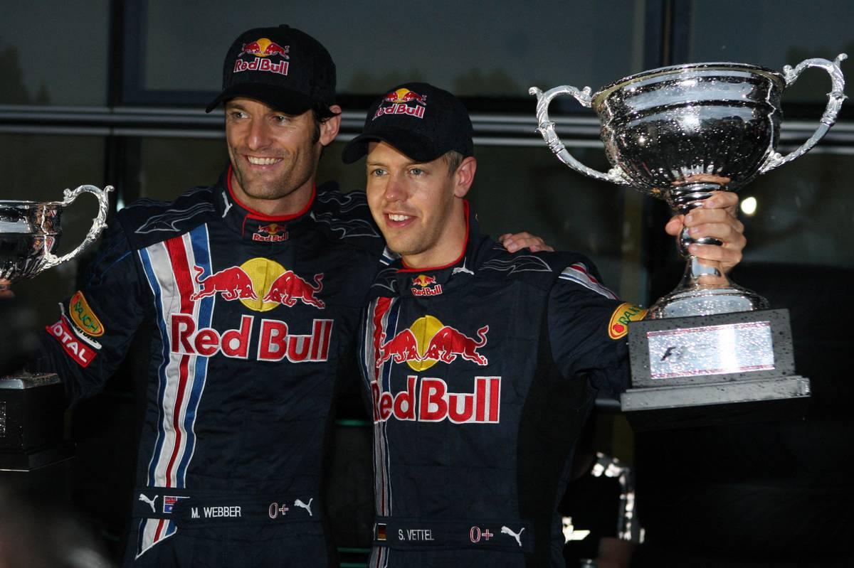 19.04.2009 Shanghai, China, 2nd place Mark Webber (AUS), Red Bull Racing and 1st Sebastian Vettel (GER),