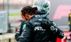 Race winner and World Champion Lewis Hamilton (GBR) Mercedes AMG F1 celebrates in parc ferme with team mate Valtteri Bottas (FIN) Mercedes AMG F1. 15.11.2020. Formula 1 World Championship, Rd 14, Turkish Grand Prix