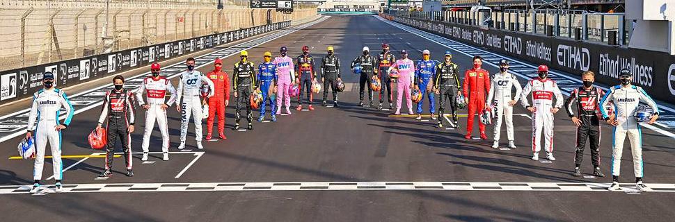 The drivers' end of season group photograph. 13.12.2020. Formula 1 World Championship, Rd 17, Abu Dhabi Grand Prix