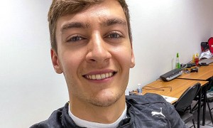 George Russell in Mercedes firesuit after being confirmed as Lewis Hamilton's replacement for Sakhir GP.