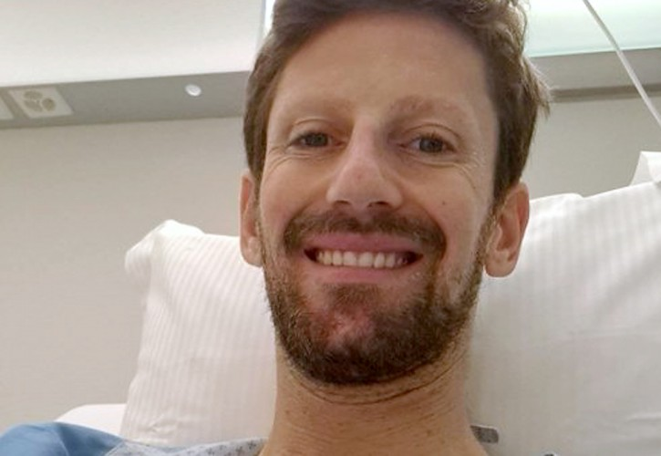 Romain Grosjean recovers in hospital after further surgery to his hand following an accident in the Bahrain Grand Prix.