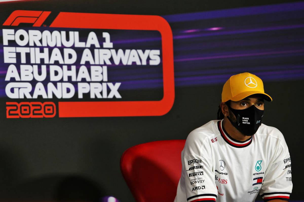 Lewis Hamilton (GBR) Mercedes AMG F1 in the post qualifying FIA Press Conference. 12.12.2020. Formula 1 World Championship, Rd 17, Abu Dhabi Grand Prix, Yas Marina Circuit