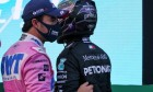 Sergio Perez (MEX) Racing Point F1 Team and Lewis Hamilton (GBR) Mercedes AMG F1 in qualifying parc ferme.