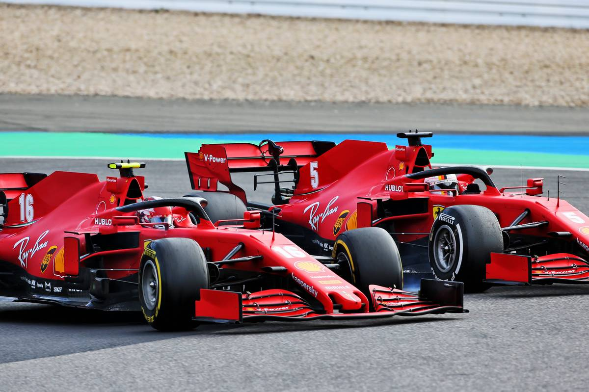 Charles Leclerc (MON) Ferrari SF1000 and team mate Sebastian Vettel (GER) Ferrari SF1000 battle for position. 11.10.2020. Formula 1 World Championship, Rd 11, Eifel Grand Prix