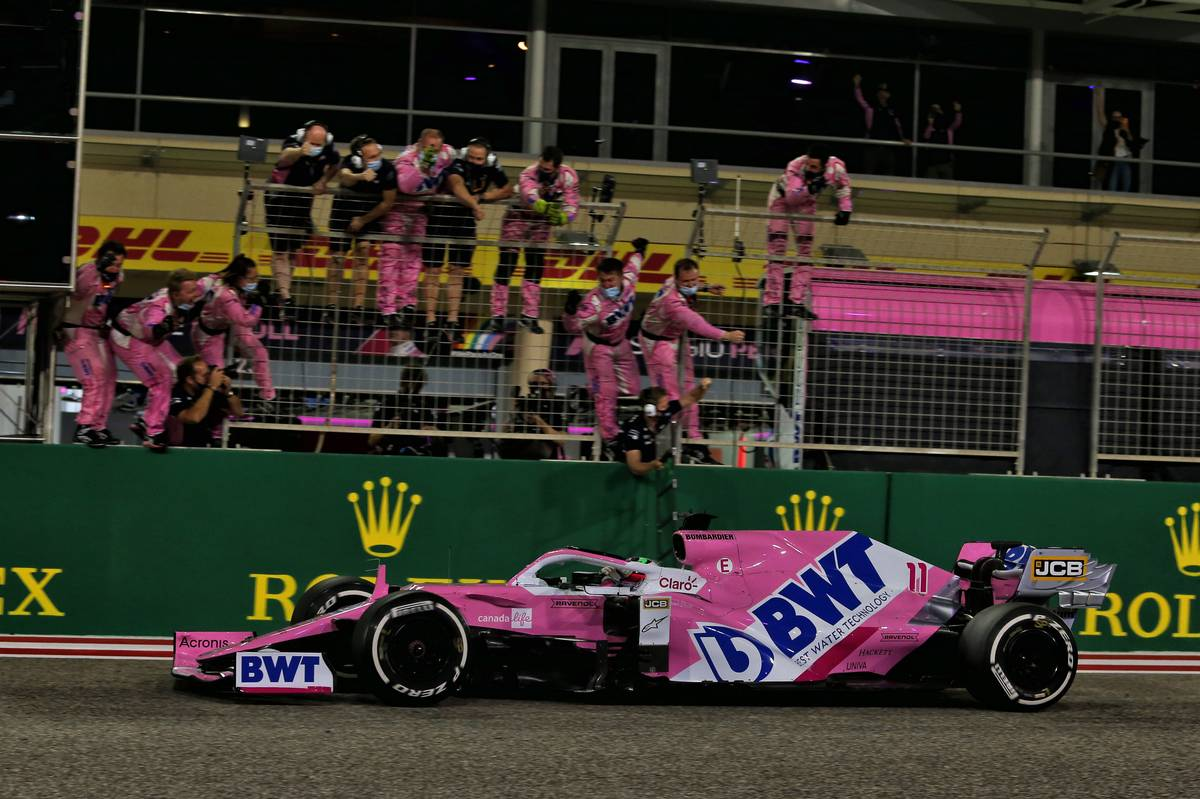 Race winner Sergio Perez (MEX) Racing Point F1 Team RP19 celebrates as he passes the team at the end of the race. 06.12.2020. Formula 1 World Championship, Rd 16, Sakhir Grand Pri