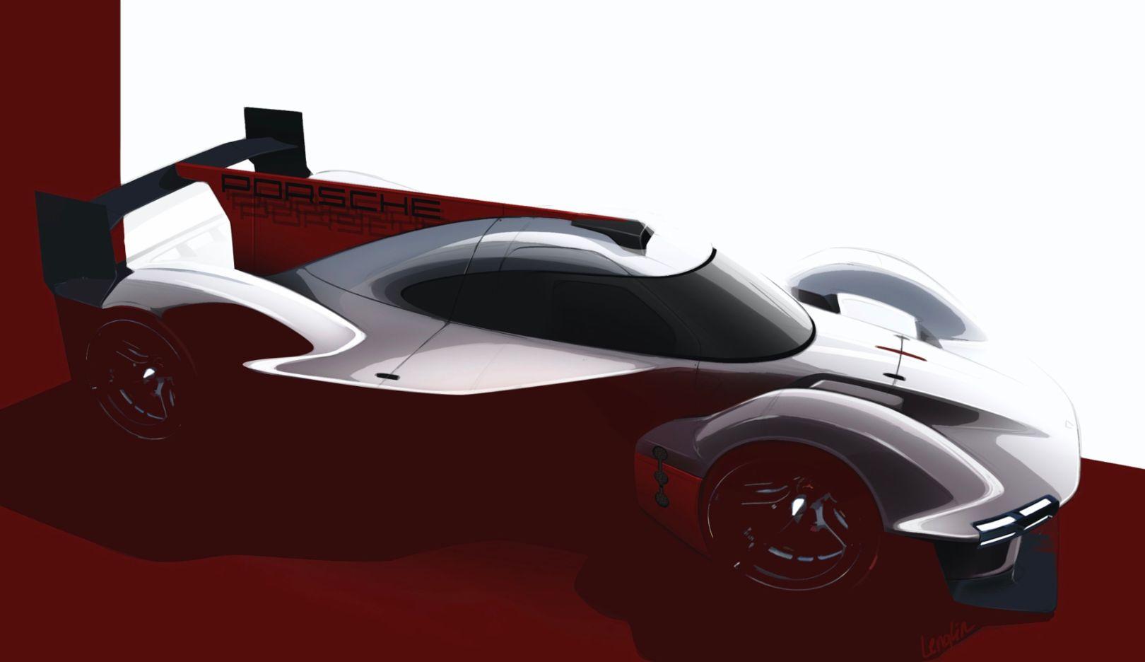 Teaser image of the 2023 Porsche Motorsport LMDh prototype concept.