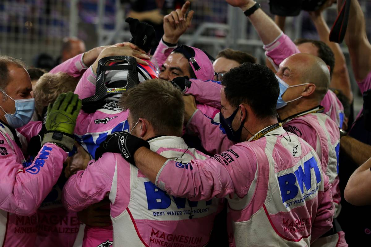 1st place Sergio Perez (MEX) Racing Point F1 Team RP19 celebrates with the team. 06.12.2020. Formula 1 World Championship, Rd 16, Sakhir Grand Prix