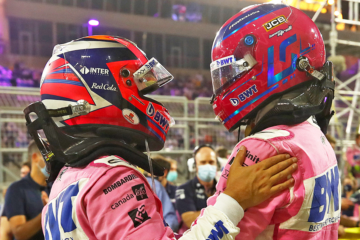 Race winner Sergio Perez (MEX) Racing Point F1 Team celebrates in parc ferme with third placed team mate Lance Stroll (CDN) Racing Point F1 Team. 06.12.2020. Formula 1 World Championship, Rd 16, Sakhir Grand Prix