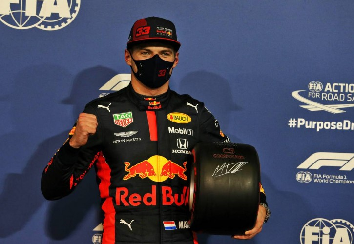 Max Verstappen (NLD) Red Bull Racing celebrates with the Pirelli Pole Position Award in qualifying parc ferme. 12.12.2020. Formula 1 World Championship, Rd 17, Abu Dhabi Grand Prix