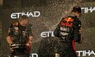 Race winner Max Verstappen (NLD) Red Bull Racing celebrates on the podium with Paul Monaghan (GBR) Red Bull Racing Chief Engineer. 13.12.2020. Formula 1 World Championship, Rd 17, Abu Dhabi Grand Prix