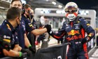 Max Verstappen (NLD) Red Bull Racing celebrates his pole position in qualifying parc ferme with the team. 12.12.2020. Formula 1 World Championship, Rd 17, Abu Dhabi Grand Prix
