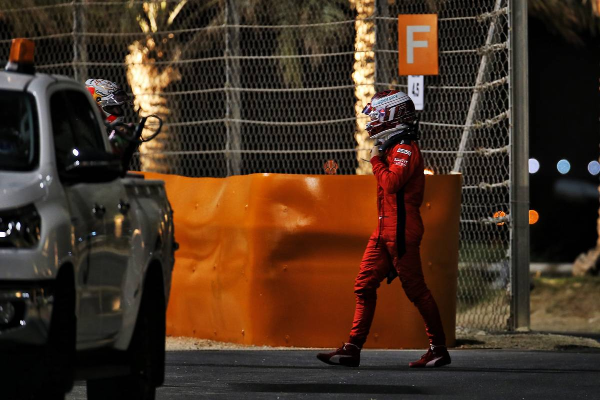 Charles Leclerc (MON) Ferrari and Max Verstappen (NLD) Red Bull Racing retired from the race. 06.12.2020. Formula 1 World Championship, Rd 16, Sakhir Grand Prix