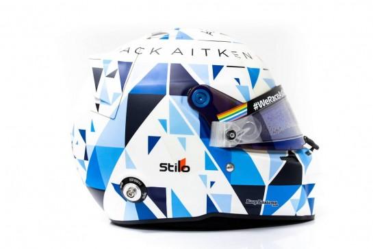 The helmet of Jack Aitken (GBR) / (KOR) Williams Racing. 02.12.2020. Formula 1 World Championship, Rd 16, Sakhir Grand Prix, Sakhir, Bahrain, Preparation Day. - www.xpbimages.com, EMail: requests@xpbimages.com © Copyright: Bearne / XPB Images