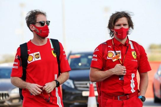 Sebastian Vettel (GER) Ferrari with Antti Kontsas (FIN) Personal Trainer. 03.12.2020. Formula 1 World Championship, Rd 16, Sakhir Grand Prix, Sakhir, Bahrain, Preparation Day. - www.xpbimages.com, EMail: requests@xpbimages.com © Copyright: Batchelor / XPB Images