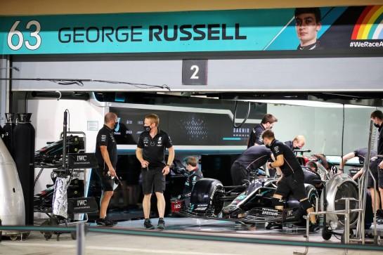Pit garage for George Russell (GBR) Mercedes AMG F1. 03.12.2020. Formula 1 World Championship, Rd 16, Sakhir Grand Prix, Sakhir, Bahrain, Preparation Day. - www.xpbimages.com, EMail: requests@xpbimages.com © Copyright: Batchelor / XPB Images