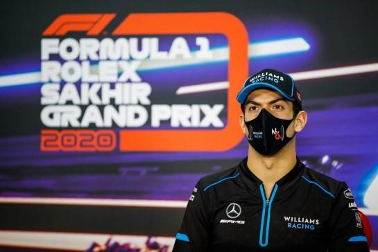 Nicholas Latifi (CDN) Williams Racing in the FIA Press Conference. 03.12.2020. Formula 1 World Championship, Rd 16, Sakhir Grand Prix, Sakhir, Bahrain, Preparation Day. - www.xpbimages.com, EMail: requests@xpbimages.com © Copyright: Bearne / XPB Images