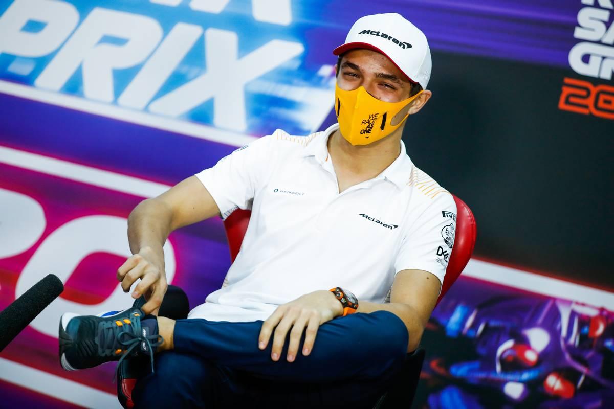 Lando Norris (GBR) McLaren in the FIA Press Conference. 03.12.2020. Formula 1 World Championship, Rd 16, Sakhir Grand Prix