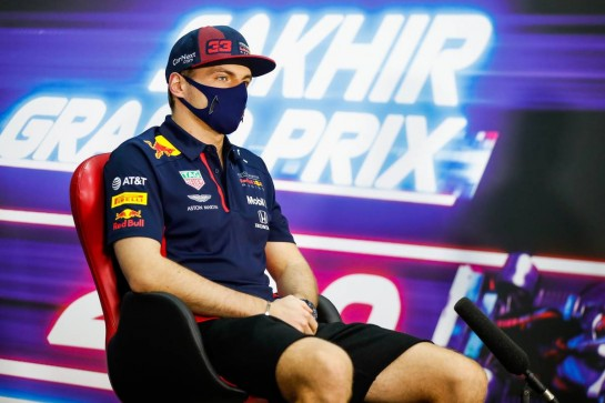 Max Verstappen (NLD) Red Bull Racing in the FIA Press Conference. 03.12.2020. Formula 1 World Championship, Rd 16, Sakhir Grand Prix, Sakhir, Bahrain, Preparation Day. - www.xpbimages.com, EMail: requests@xpbimages.com © Copyright: FIA Pool Image for Editorial Use Only
